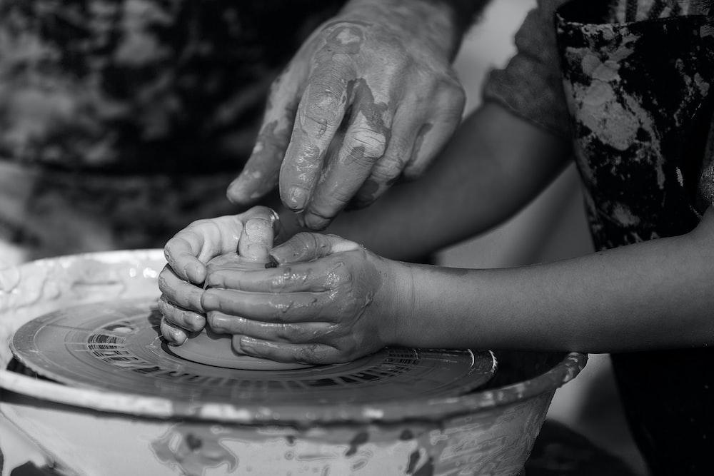 girl molding clay