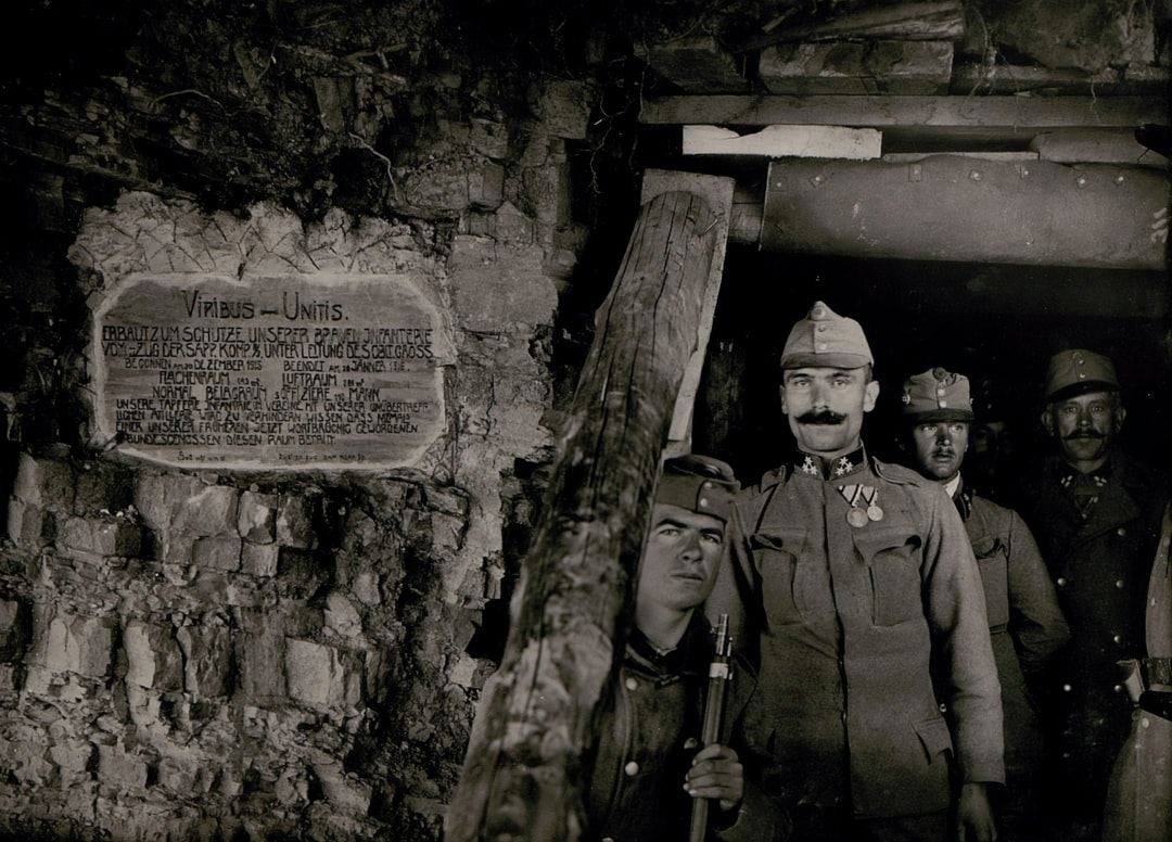 World War 1. Entrance to the large company cavern at Calvary; Podgora section, west of Gorizia.