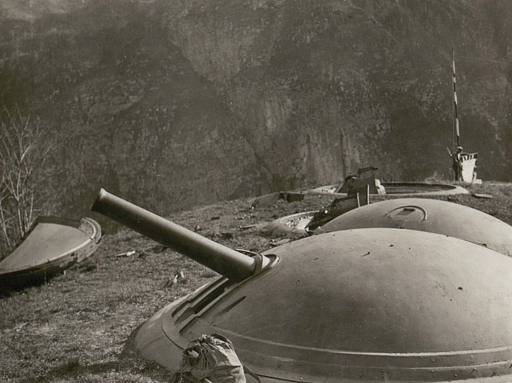 grayscale photography of war cannons
