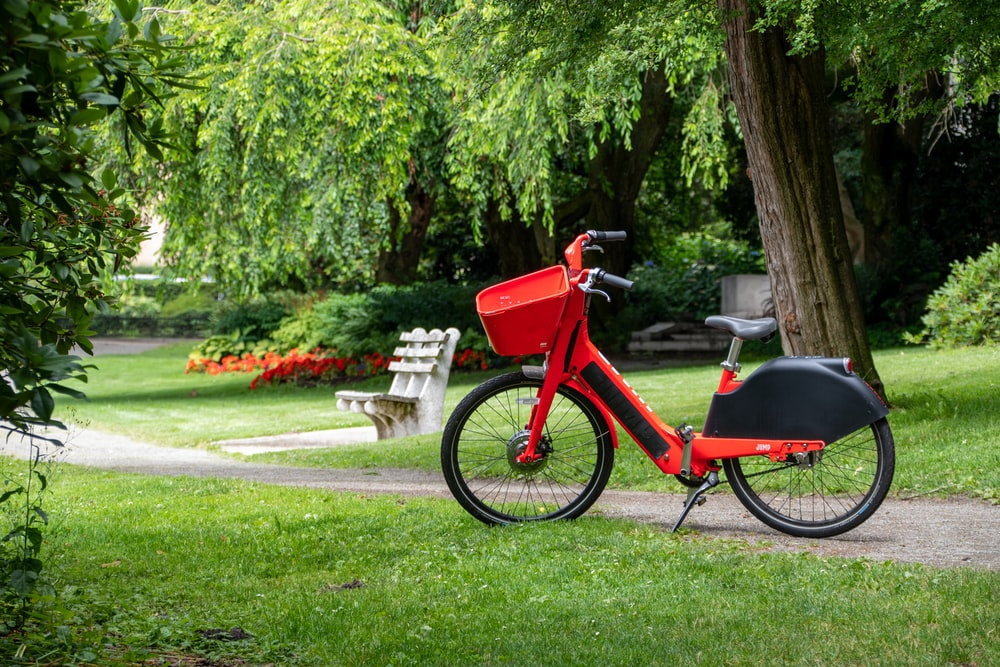 red bike parked on grass at the park during day