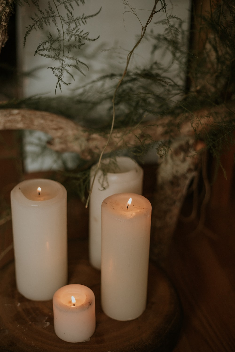 lit pillar candles