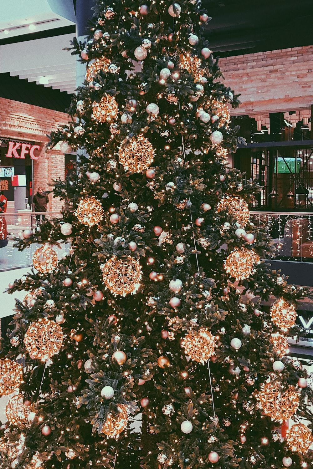 green and brown Christmas tree