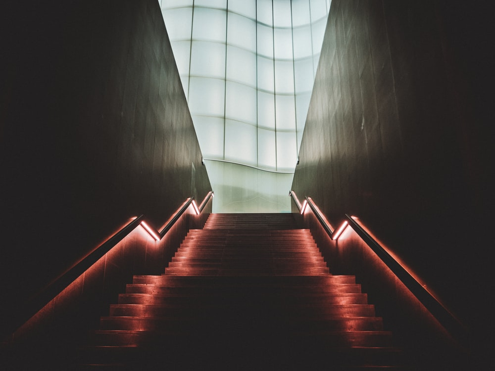 shallow focus photo of stairs
