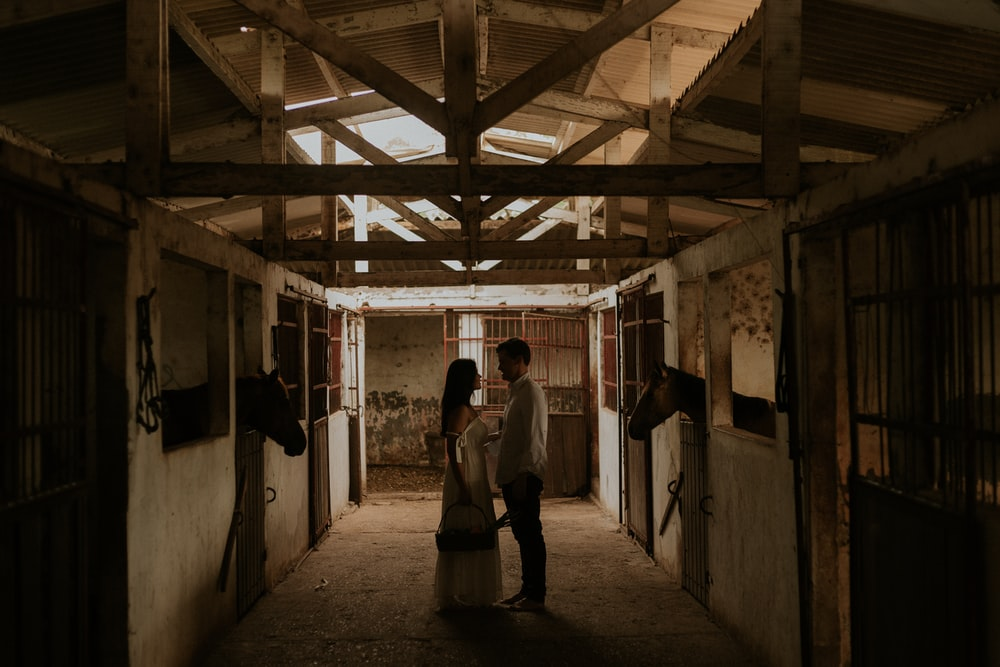 couple standing near horse in barn