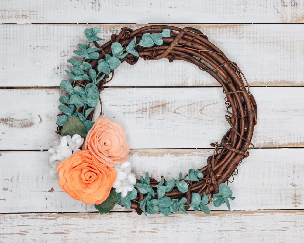 red and green floral wreath