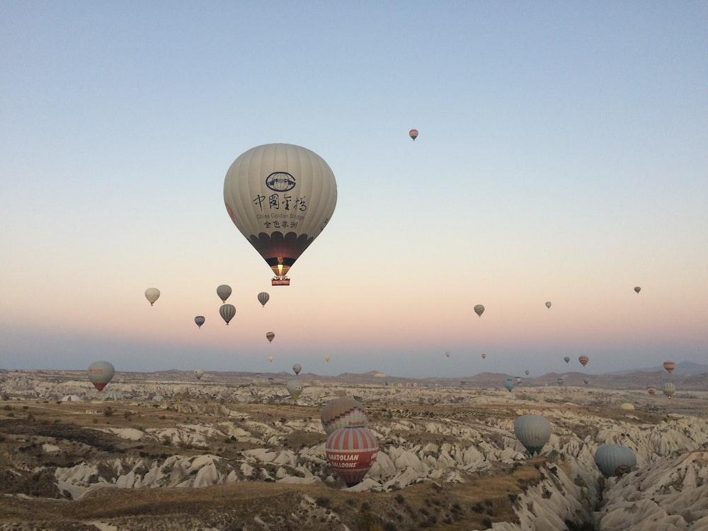 hot air balloon lot on mid air at daytime