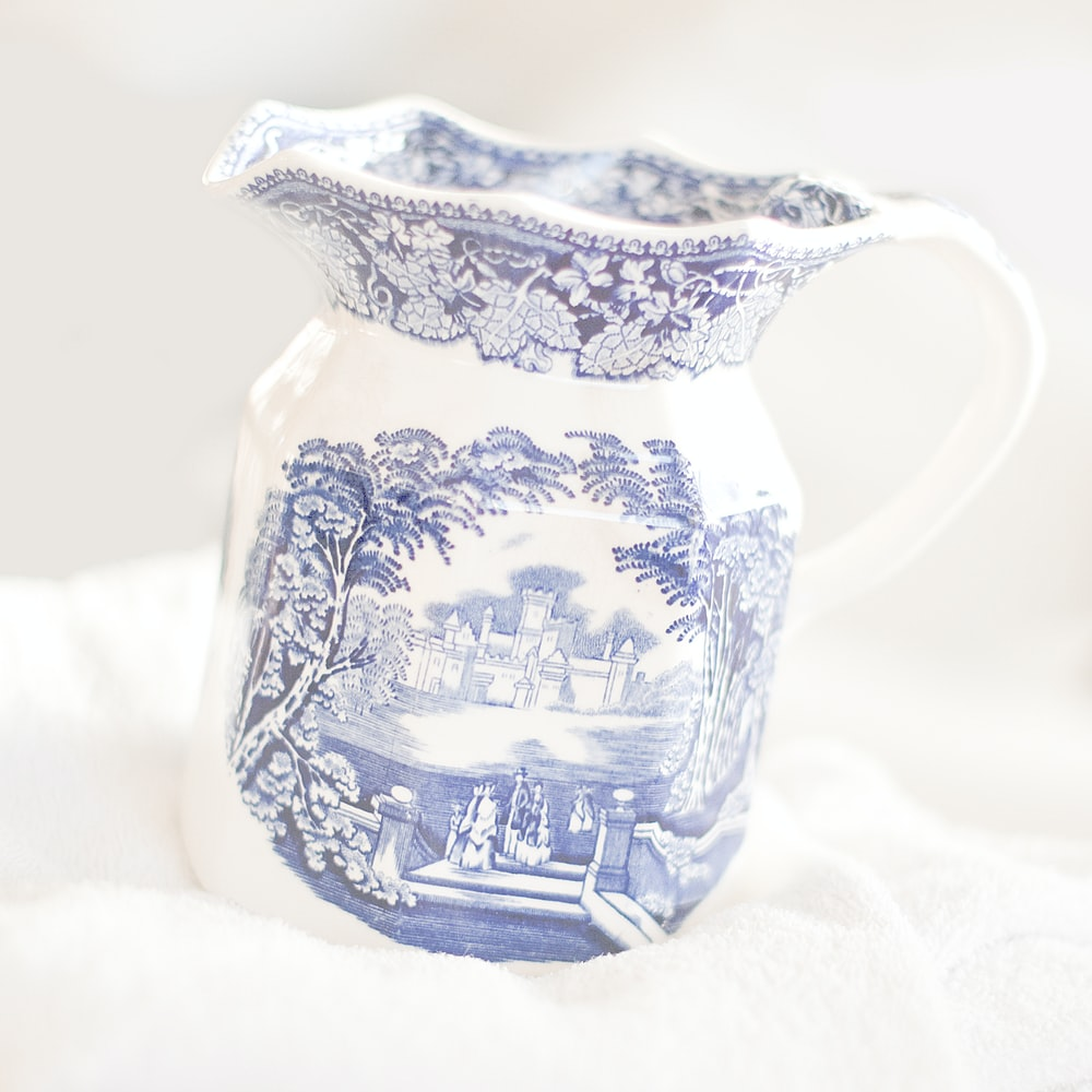 blue and white ceramic jar