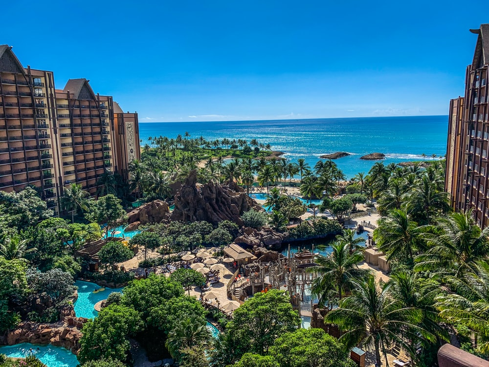 aerial photography of seaside resort under blue sky