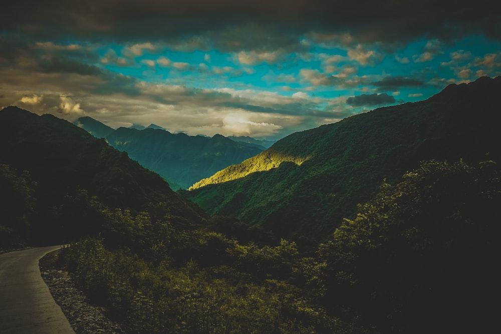 mountain during night time