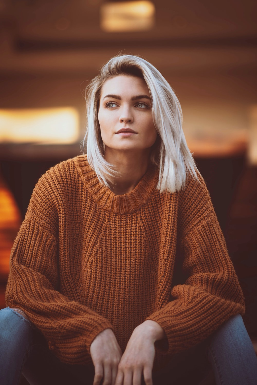 woman wearing knit sweater