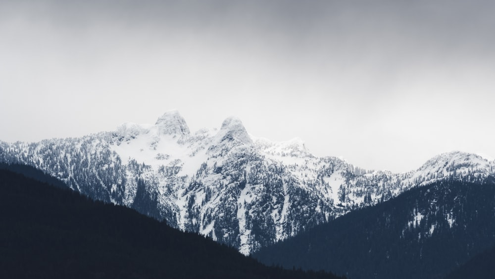 snow covering mountains
