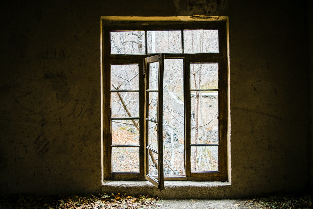 the old window in old room on nature house