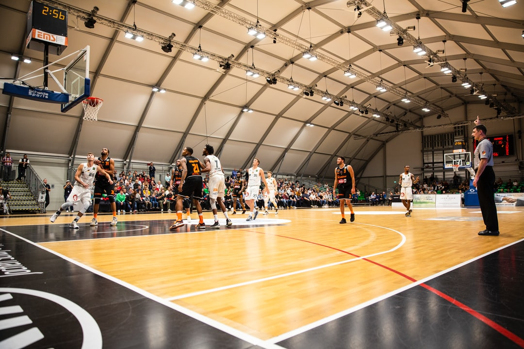 Shot 2-points throw basketball match. Basketball – BARMER 2. Basketball Bundesliga ProA: Nürnberg Falcons (white) vs. wiha Panthers Schwenningen (black)