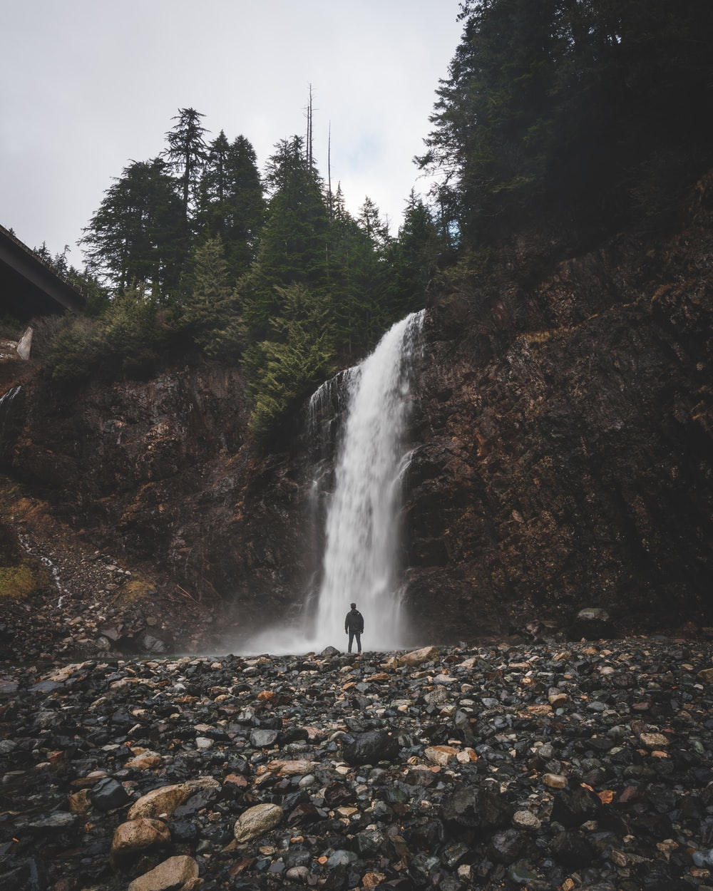 man standing in front of waterfalls during day