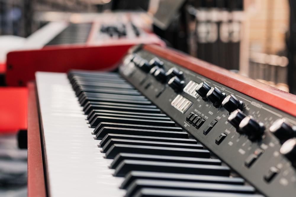 red electric keyboard