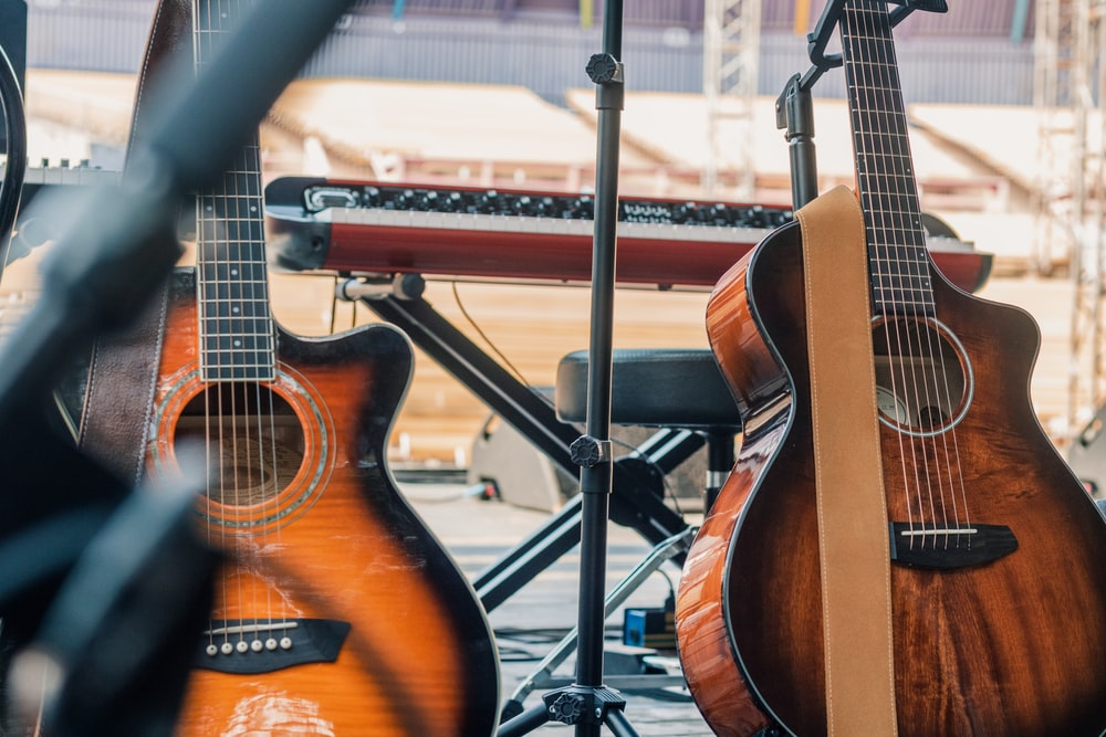 two brown guitars