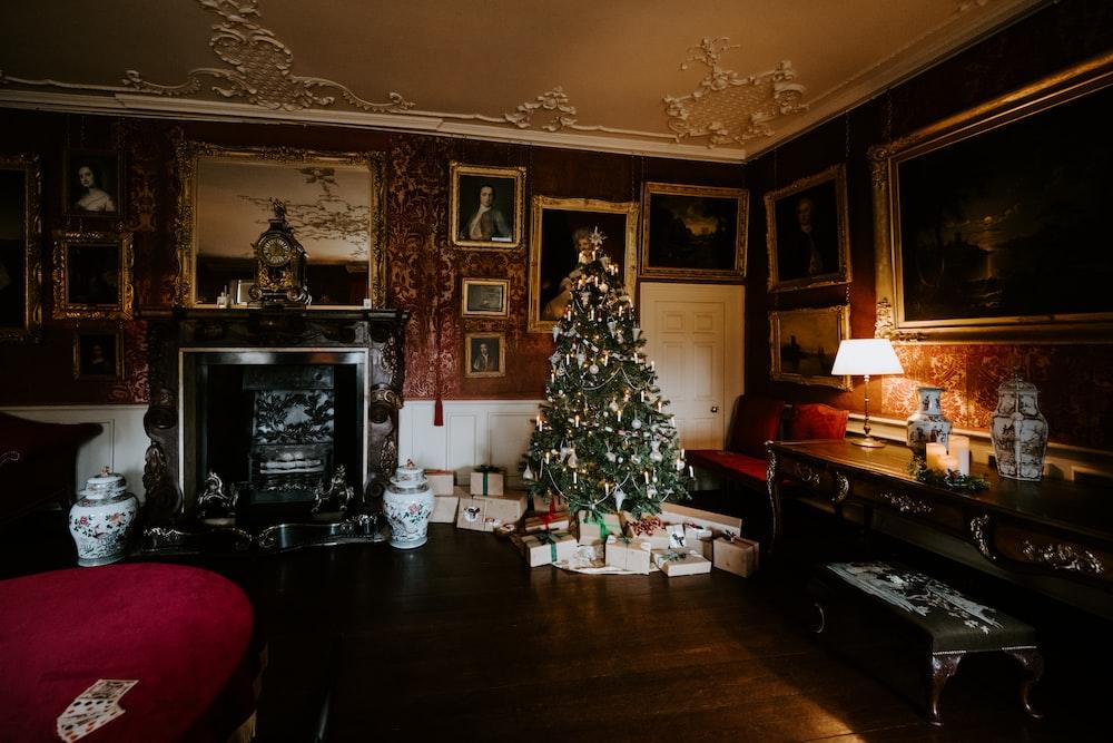 green Christmas tree inside room