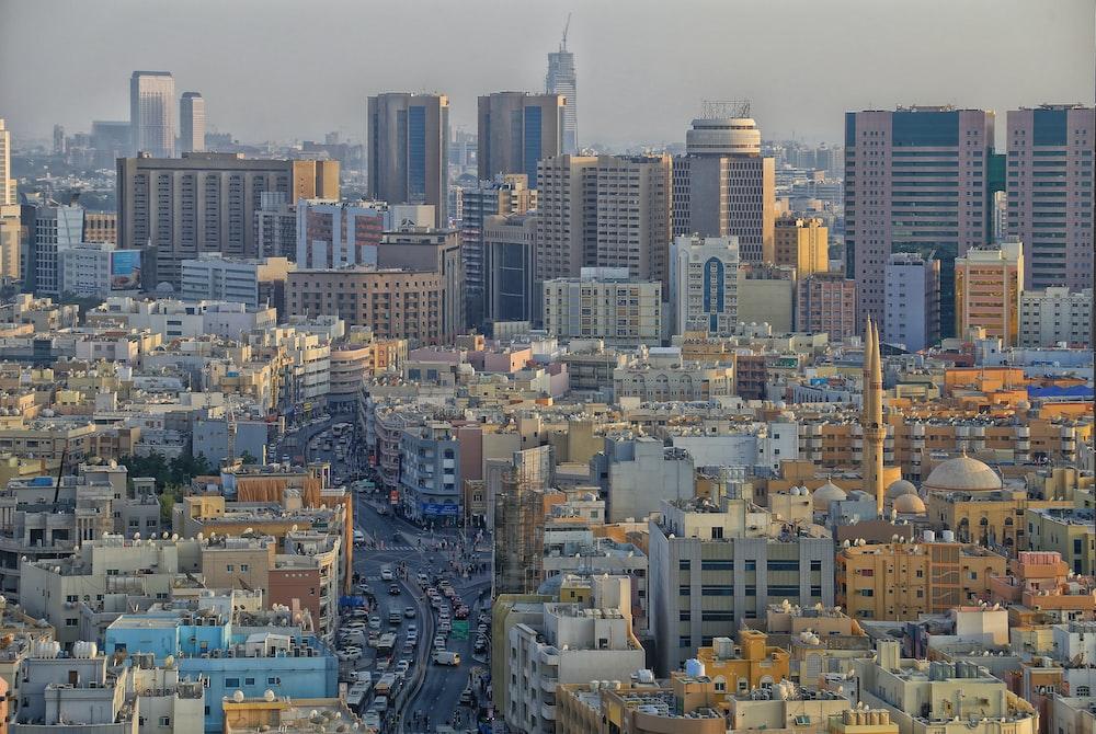 landscape photography of city