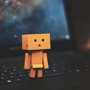 Danbo standing on laptop