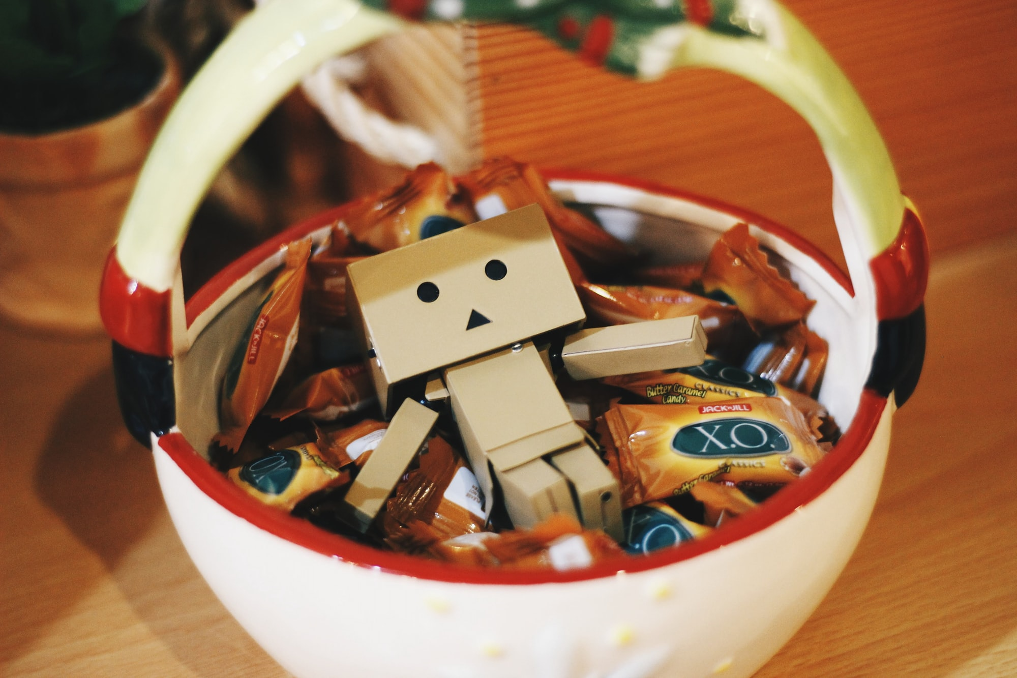 Danbo in a Basket of Coffee Candies