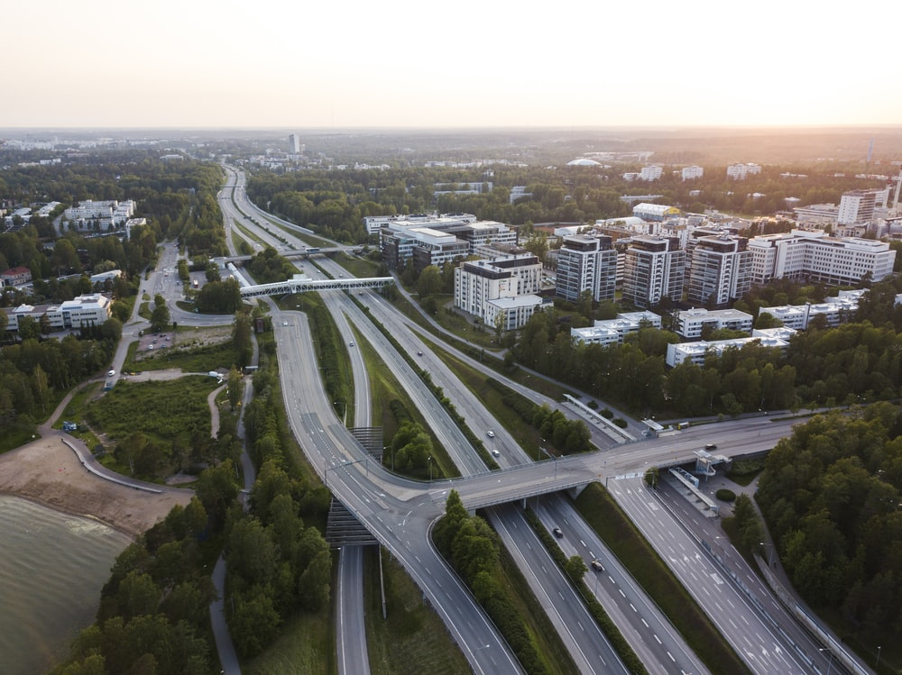 super highway during golden hour