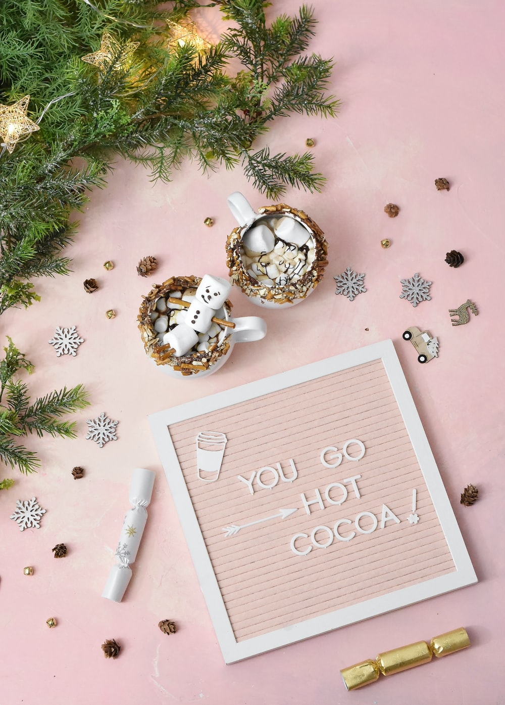 pink and white flatlay decor