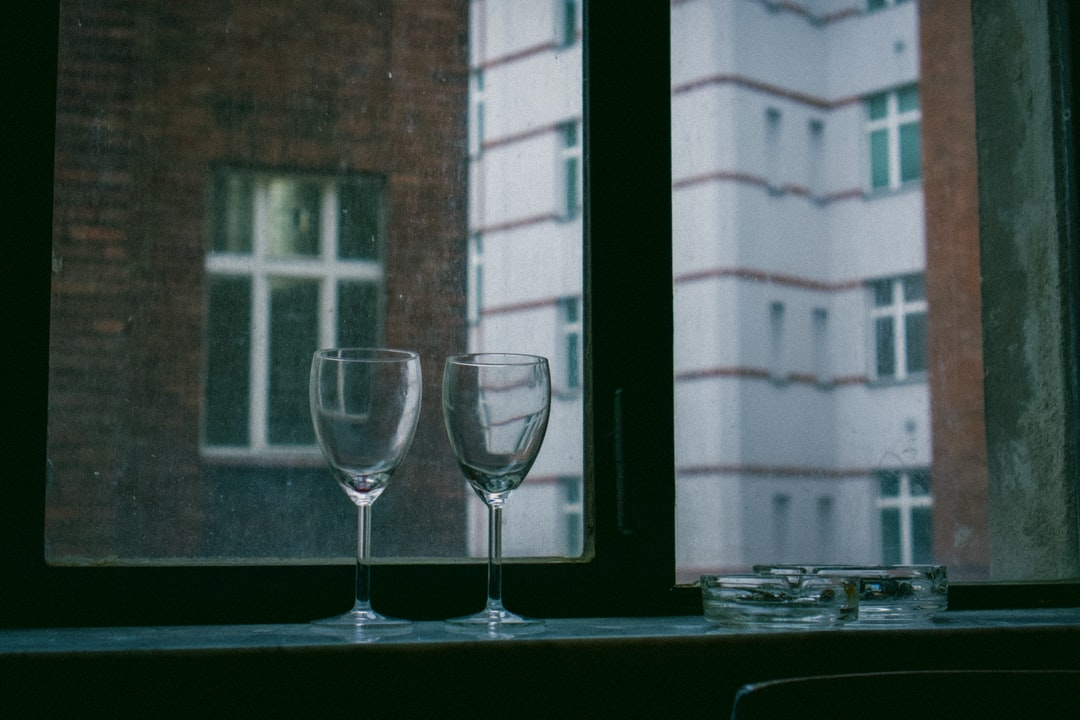 Dinner for two with empty wine glasses