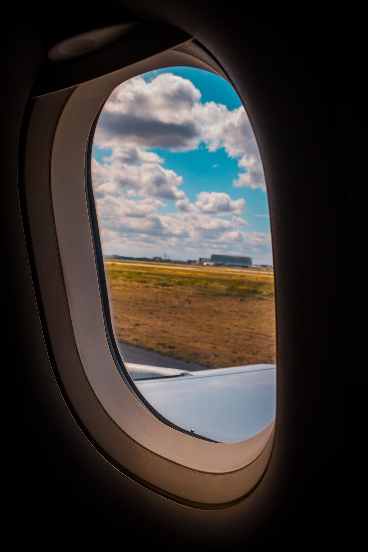 closeup photo of airplane window