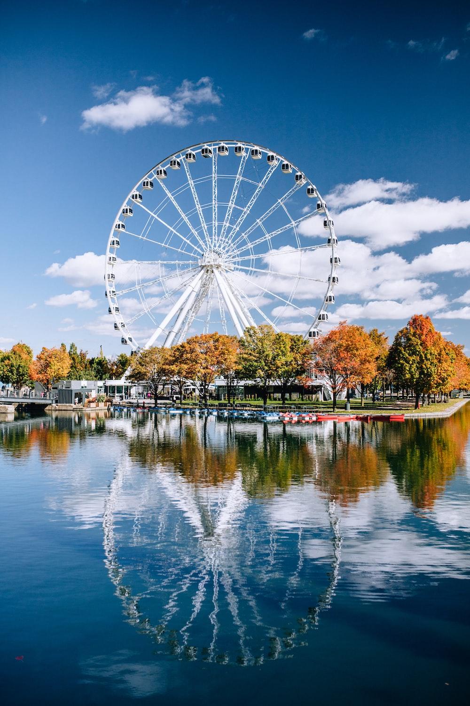 Ferris wheel beside trees near body of water