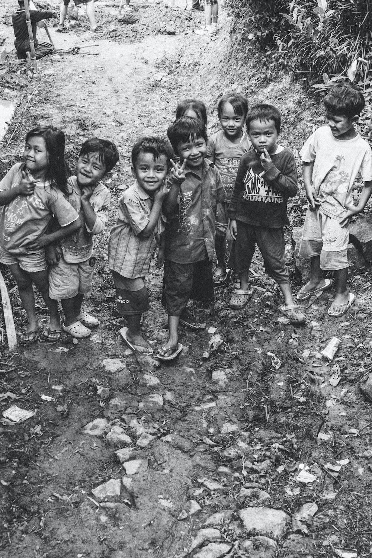 grayscale photo of children