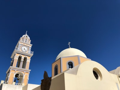 beige and brown cathedral santorini zoom background