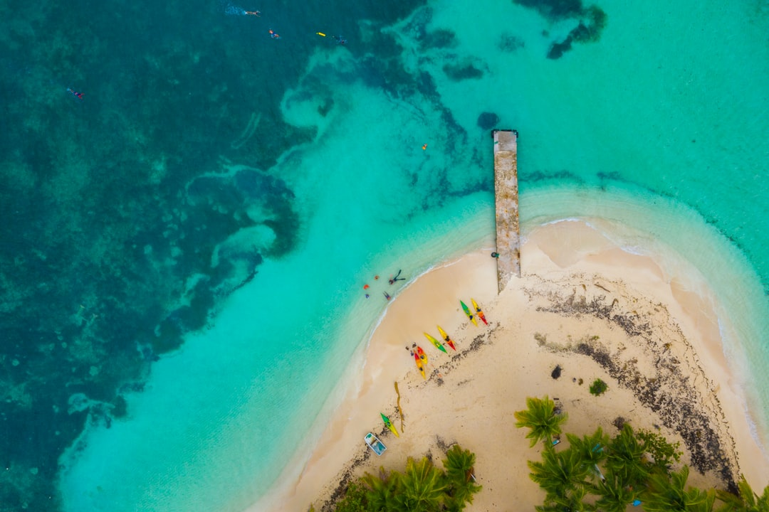 Drone view of a beach in the Caribbean