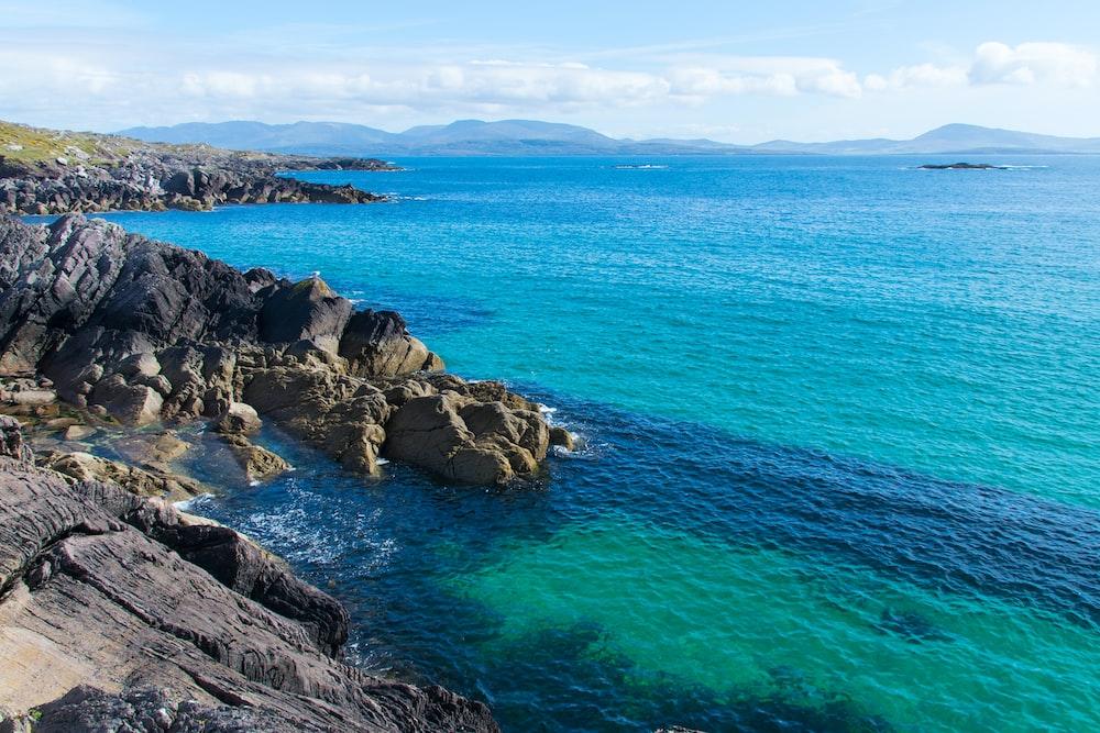 sea near rocks on island