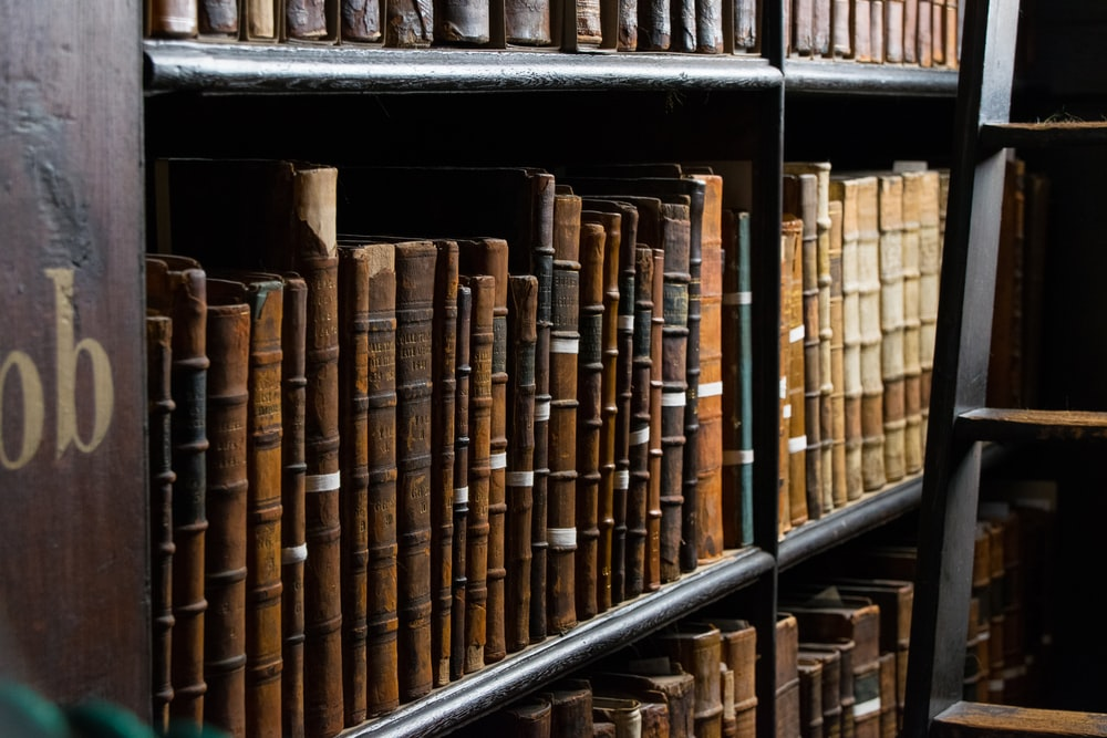 books on bookshelf near ladder