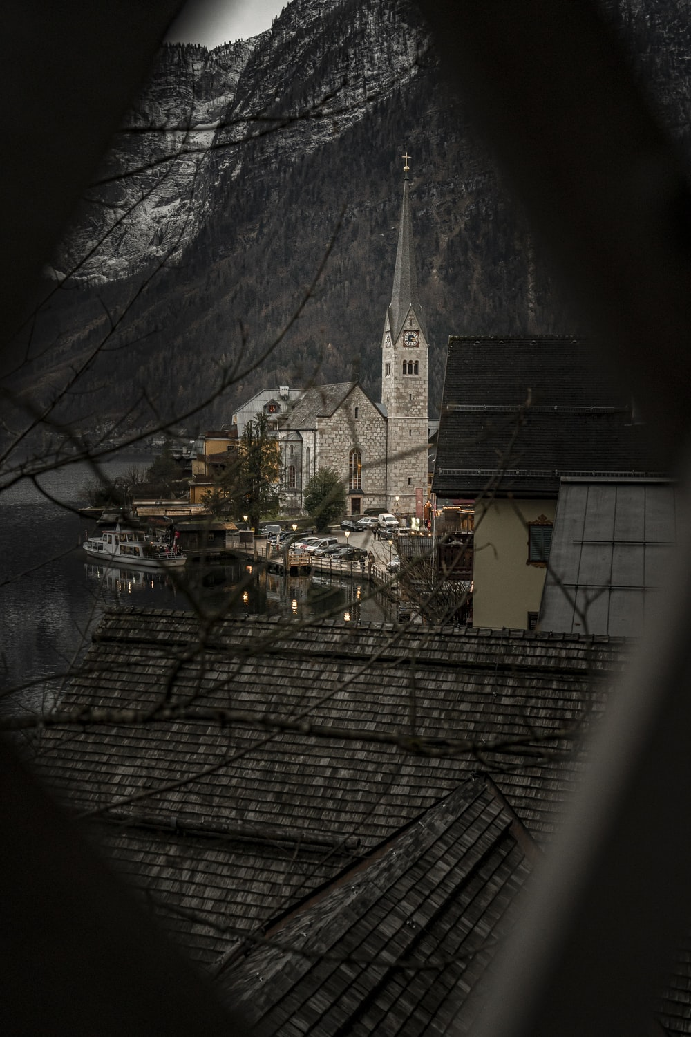 cathedral near mountain