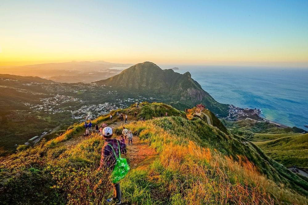 overlooking mountain