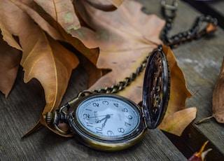 nostalgia pocket watch with autumn leave