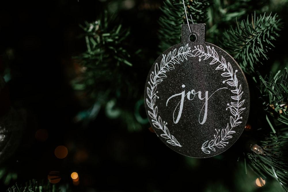 hanging black joy-printed ornament