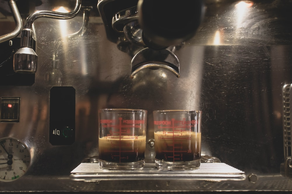 two glass of coffee shot
