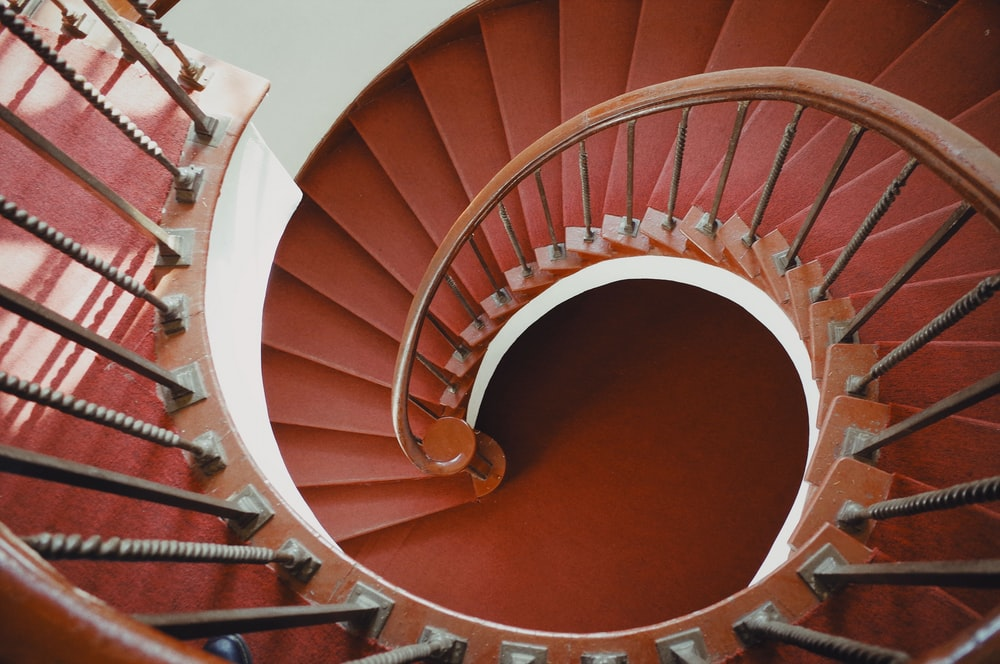 red twirl stairs