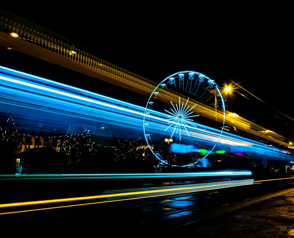 time lapse photo of Ferris wheel during nighttime