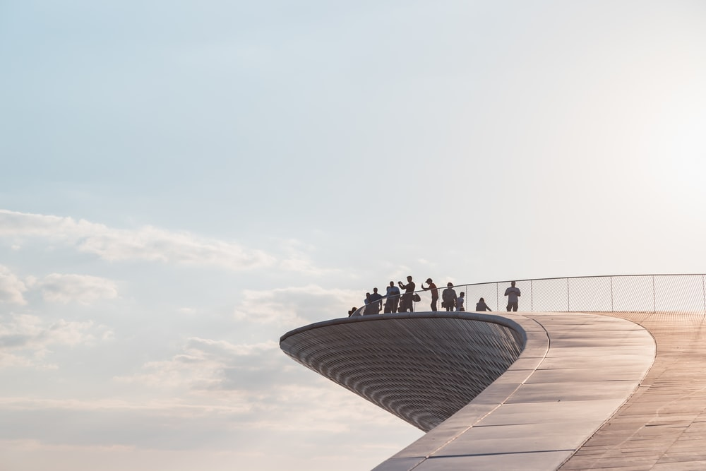 people on building top