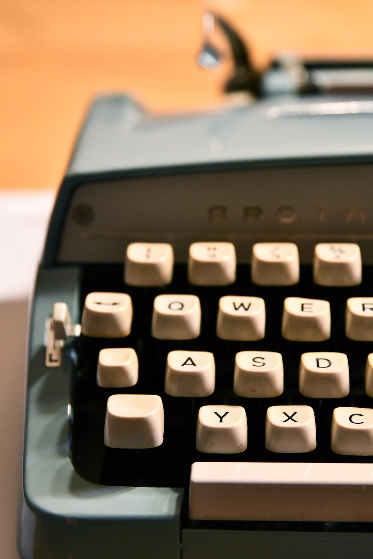 view of gray typewriter