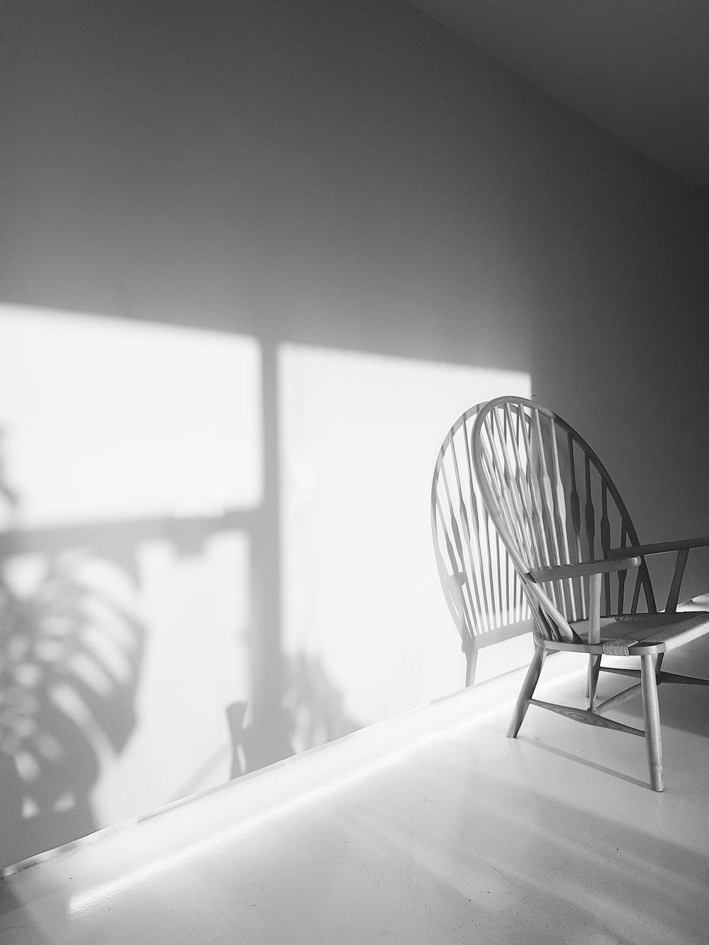 gray wooden armchair