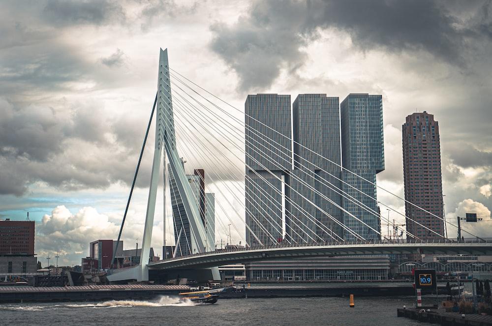 concrete bridge near building