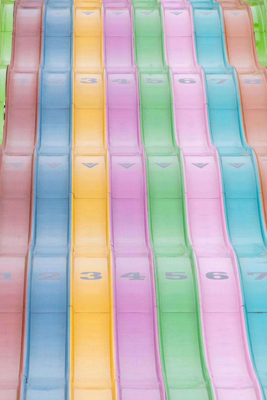 multicolored plastic slides