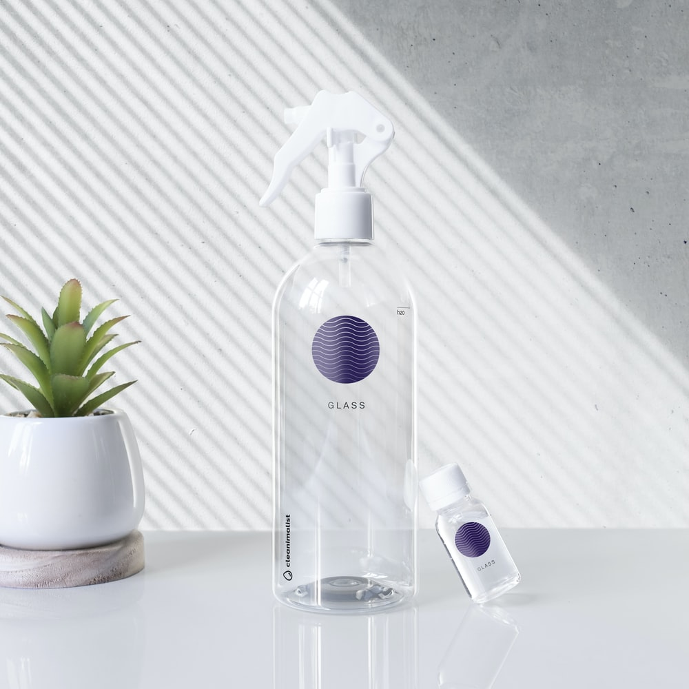 clear and white spray bottle