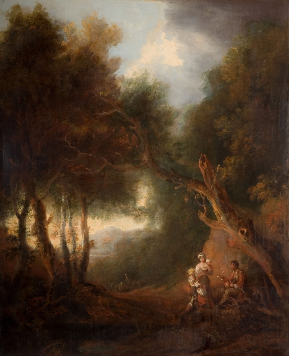 painting of three people beside tree