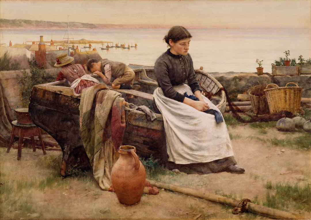 1890P86 But O For the Touch of a Vanished Hand, 1888, Walter Langley. In 1882, Langley settled in Newlyn, Cornwall. The subjects of his paintings were typically Cornish fishermen and their families. The title is taken from the Tennyson poem 'Break Break Break'.