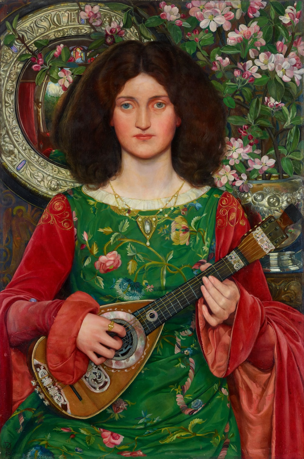 woman playing guitar painting